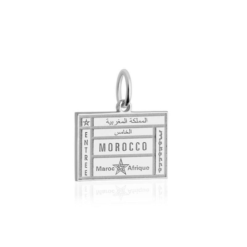 Sterling Silver Travel Charm, Morocco Passport Stamp (SHIPS JULY) - JET SET CANDY
