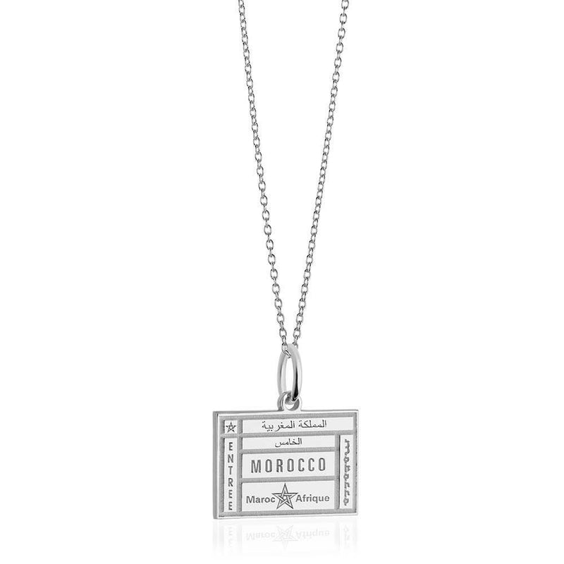 Sterling Silver Travel Charm, Morocco Passport Stamp - JET SET CANDY