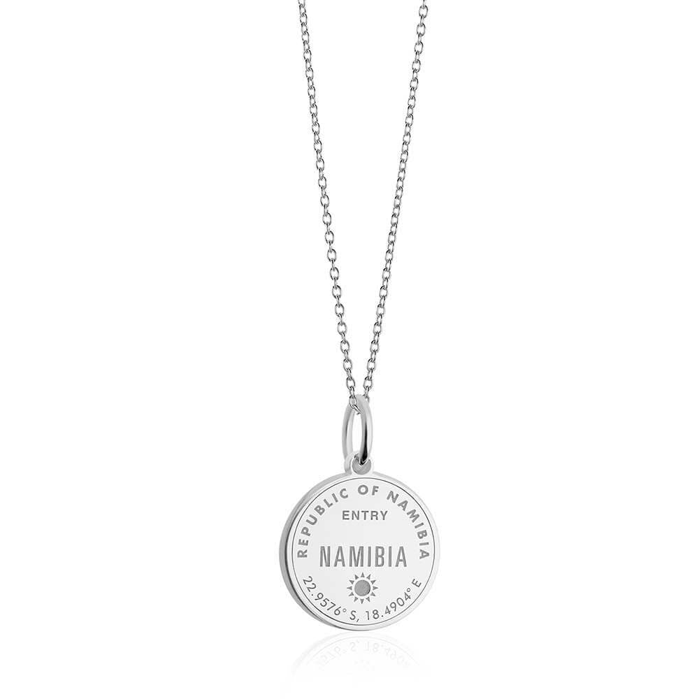 Sterling Silver Travel Charm, Namibia Passport Stamp - JET SET CANDY