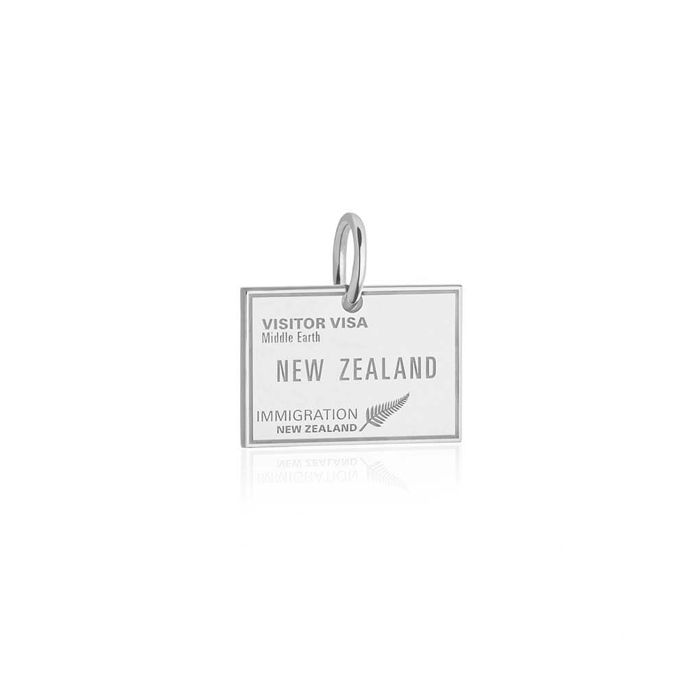 Sterling Silver New Zealand Charm, Passport Stamp (SHIPS JUNE) - JET SET CANDY