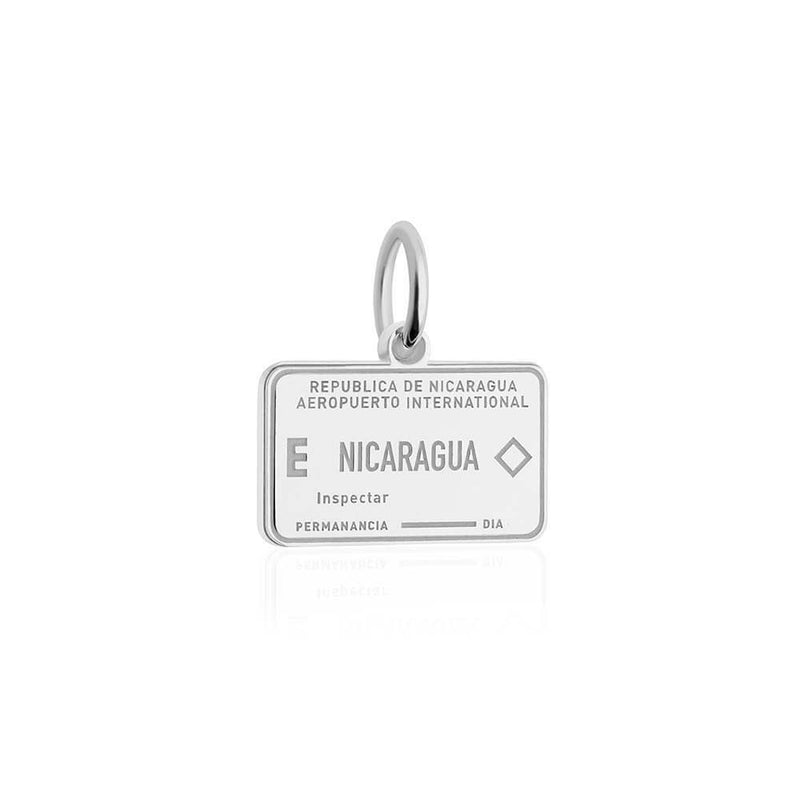 Sterling Silver Travel Charm, Nicaragua Passport Stamp - JET SET CANDY
