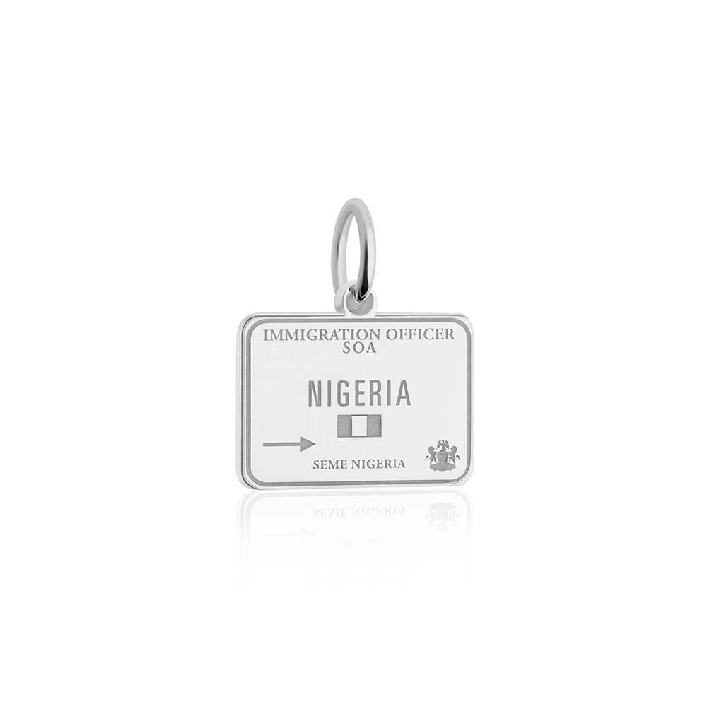 Sterling Silver Travel Charm, Nigeria Passport Stamp - JET SET CANDY