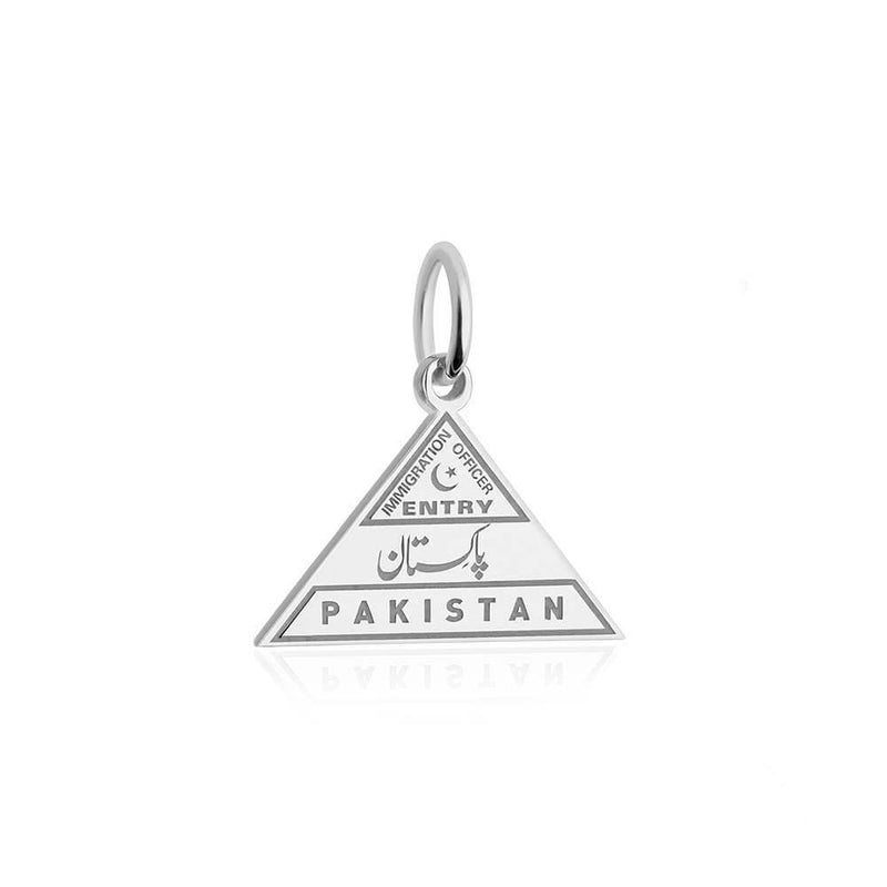 Sterling Silver Travel Charm, Pakistan Passport Stamp - JET SET CANDY
