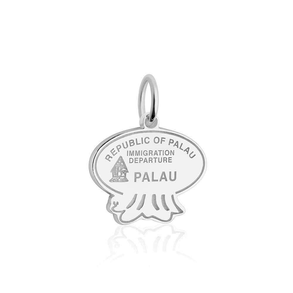Sterling Silver Travel Charm, Palau Passport Stamp - JET SET CANDY