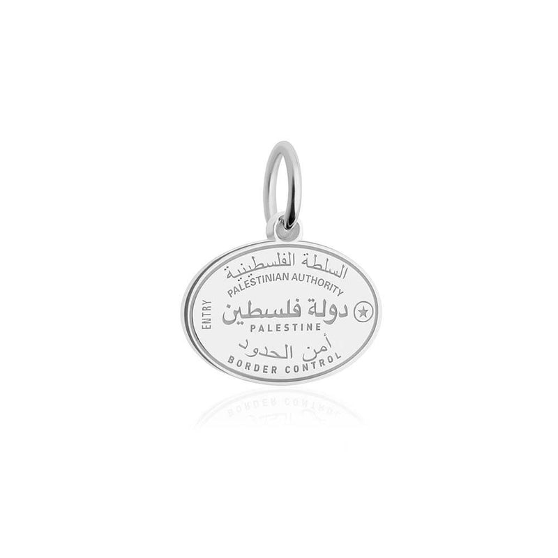 Sterling Silver Travel Charm, Palestine Passport Stamp (SHIPS JUNE) - JET SET CANDY