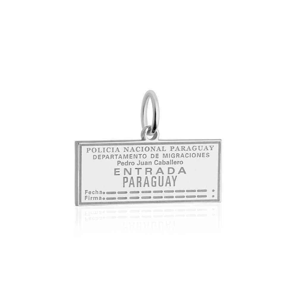 Sterling Silver Travel Charm, Paraguay Passport Stamp - JET SET CANDY