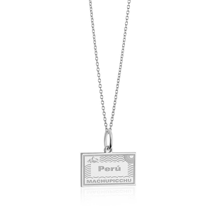 Sterling Silver Travel Charm, Peru Passport Stamp - JET SET CANDY