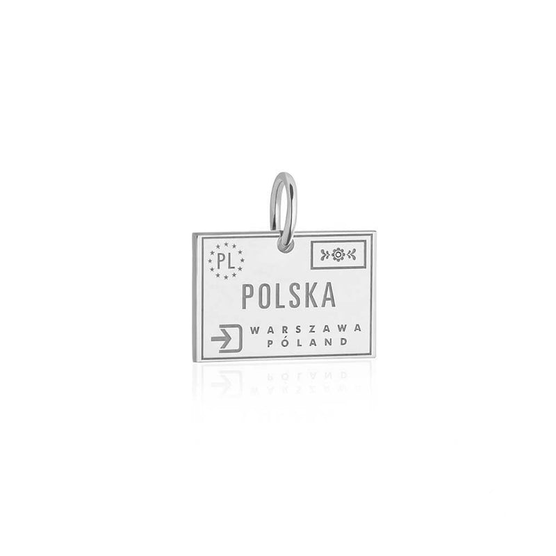 Sterling Silver Travel Charm, Poland Passport Stamp - JET SET CANDY