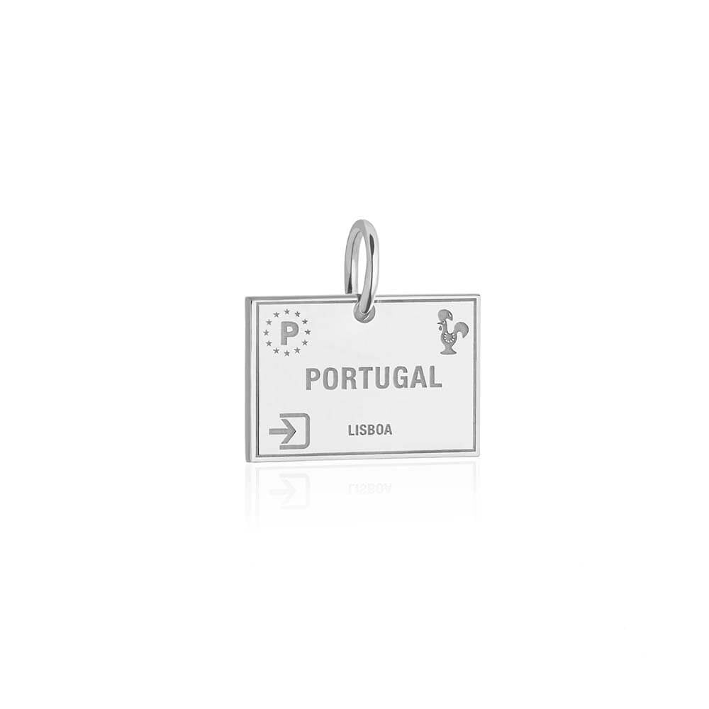 Sterling Silver Travel Charm, Portugal Passport Stamp (SHIPS JUNE) - JET SET CANDY