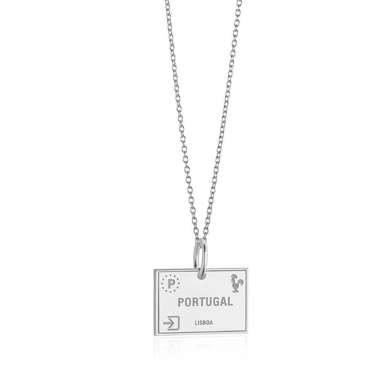 Sterling Silver Travel Charm, Portugal Passport Stamp  (BACK-ORDER-SHIPS FEBRUARY) - JET SET CANDY