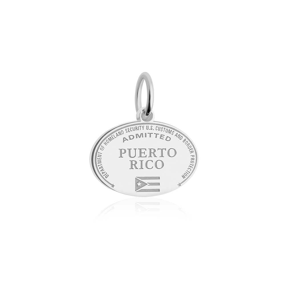 Sterling Silver Travel Charm, Puerto Rico Passport Stamp - JET SET CANDY