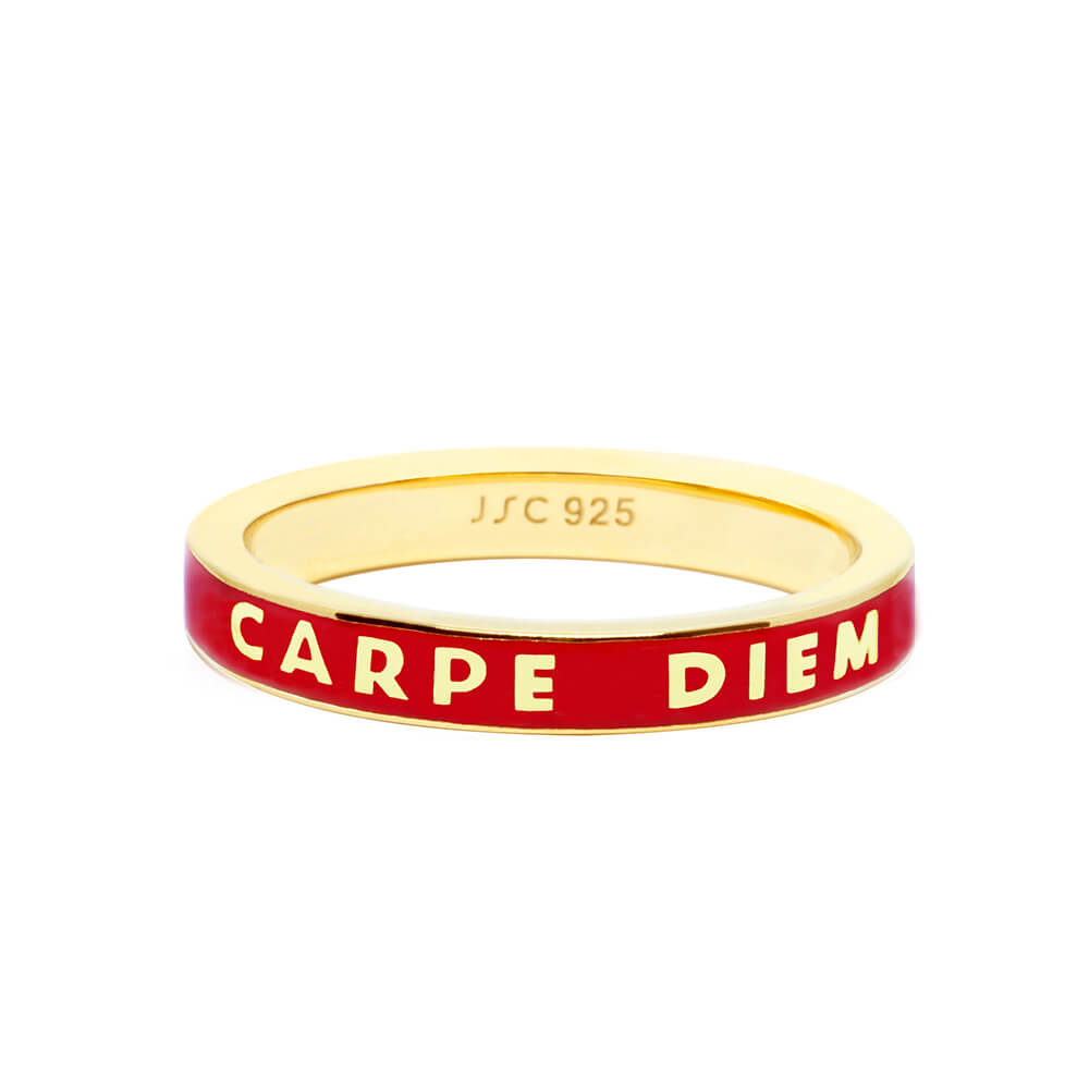 Gold Carpe Diem Ring with Red Enamel