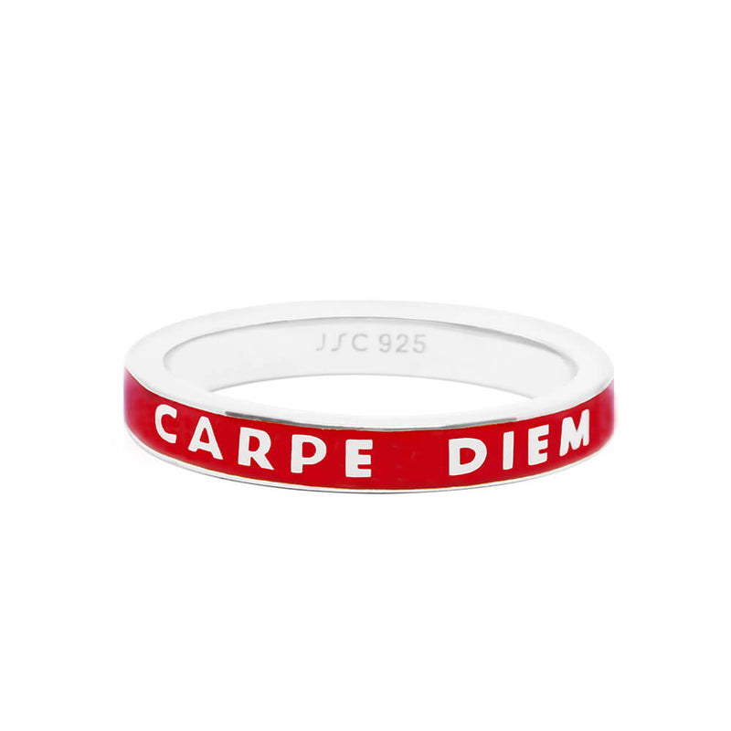 Silver Carpe Diem Ring with Red Enamel