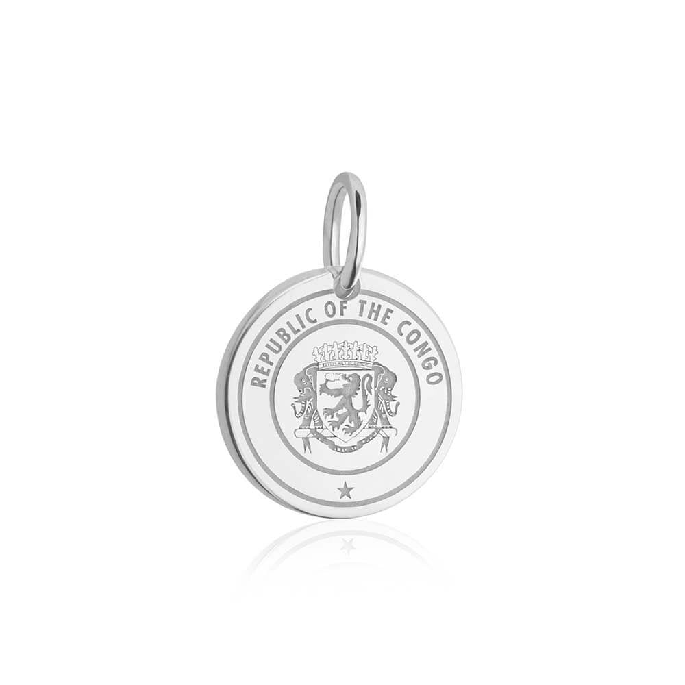 Silver Travel Charm, Republic of the Congo Passport Stamp - JET SET CANDY