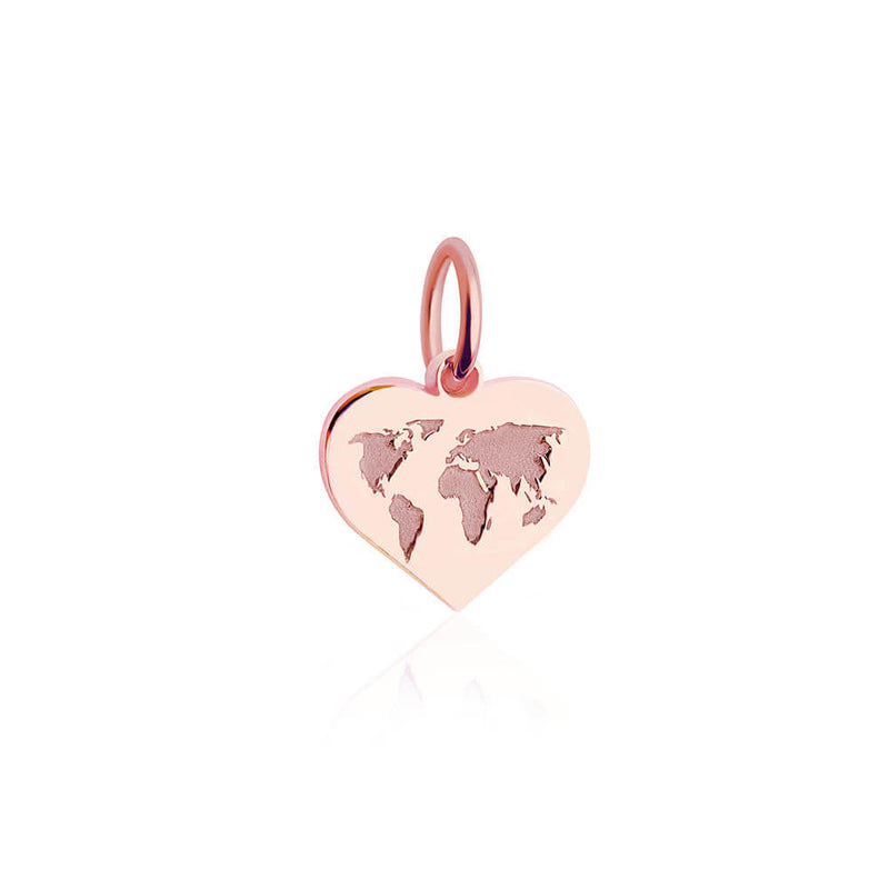 Mini Rose Gold World Heart Map Charm (SHIPS JUNE) - JET SET CANDY