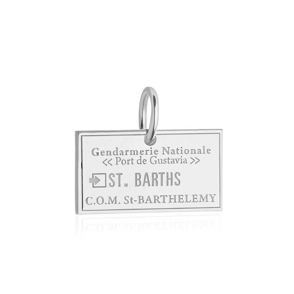 Sterling Silver Charm, Saint Barths Passport Stamp - JET SET CANDY
