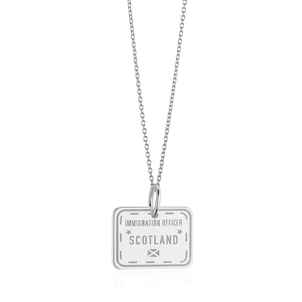Sterling Silver Travel Charm, Scotland Passport Stamp (SHIPS JUNE) - JET SET CANDY