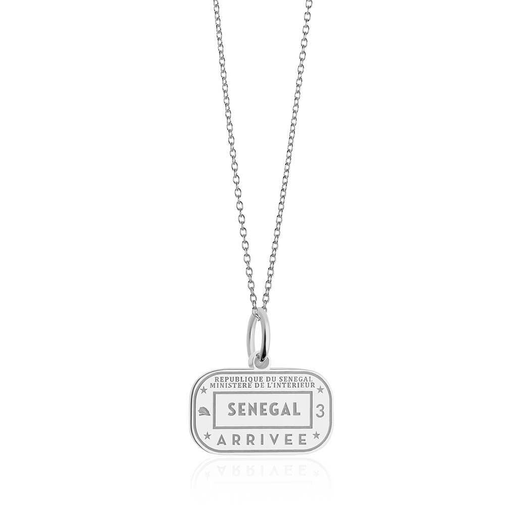 Sterling Silver Travel Charm, Senegal Passport Stamp - JET SET CANDY