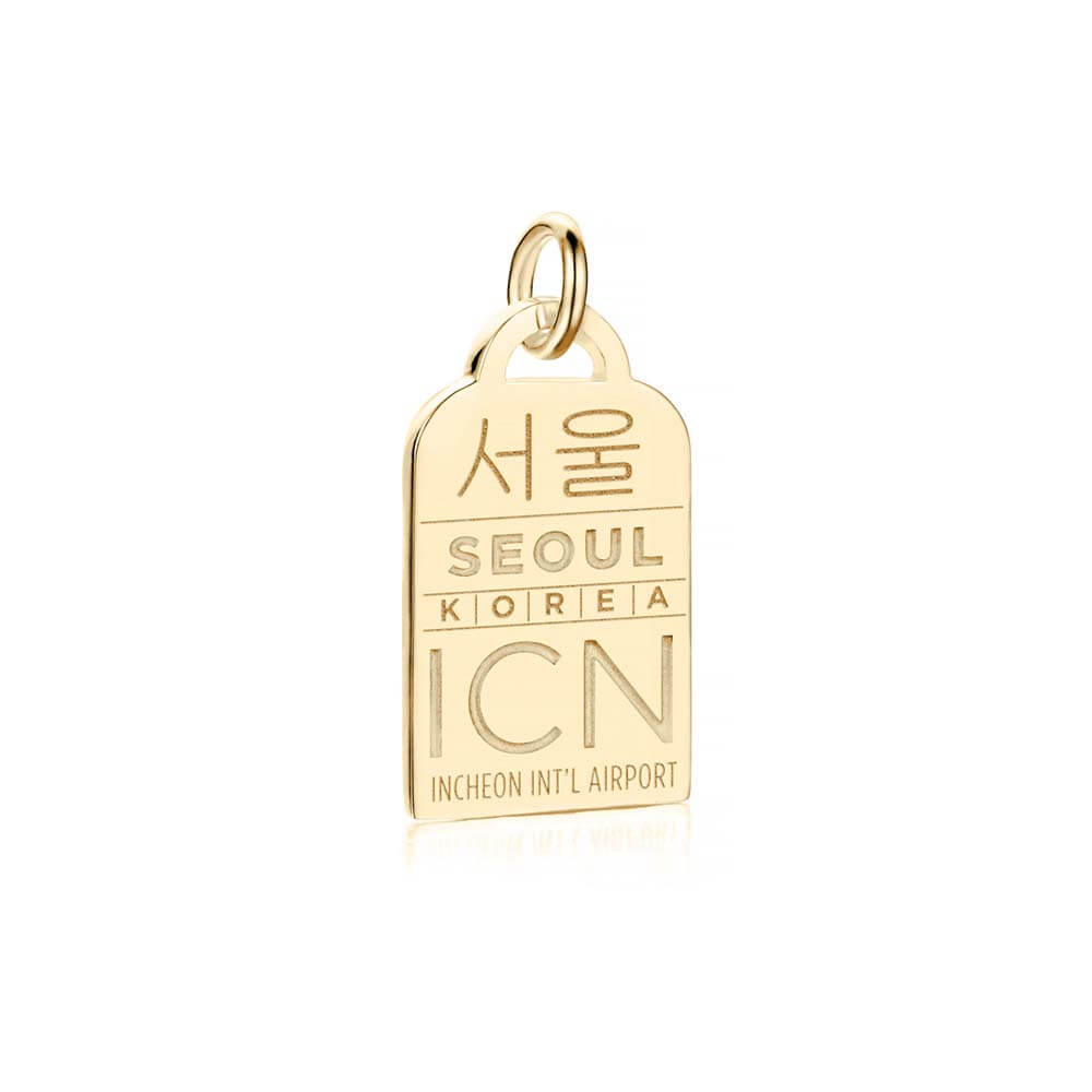 Gold Asia Charm, ICN Seoul Luggage Tag - JET SET CANDY
