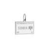 Sterling Silver Travel Charm, Serbia Passport Stamp - JET SET CANDY