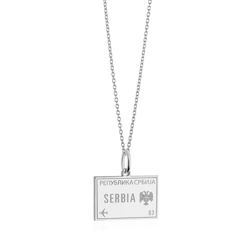 Sterling Silver Travel Charm, Serbia Passport Stamp (SHIPS JUNE) - JET SET CANDY