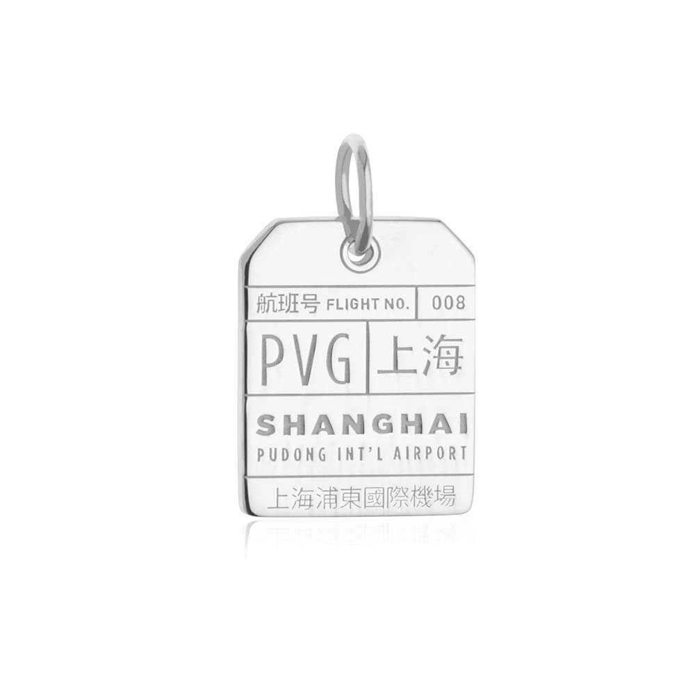 Silver China Charm, PVG Shanghai Luggage Tag - JET SET CANDY