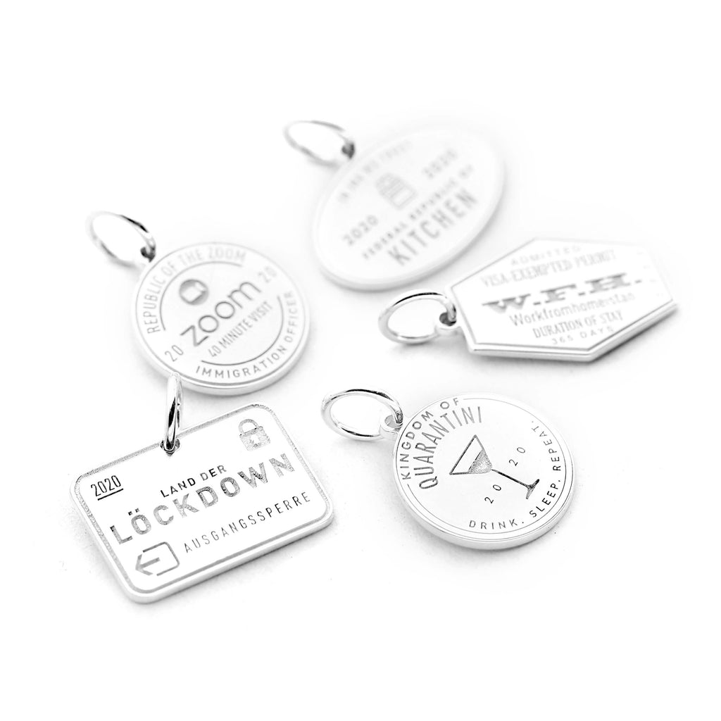 SILVER QUARANTINE PASSPORT STAMP BUNDLE WITH 5 CHARMS