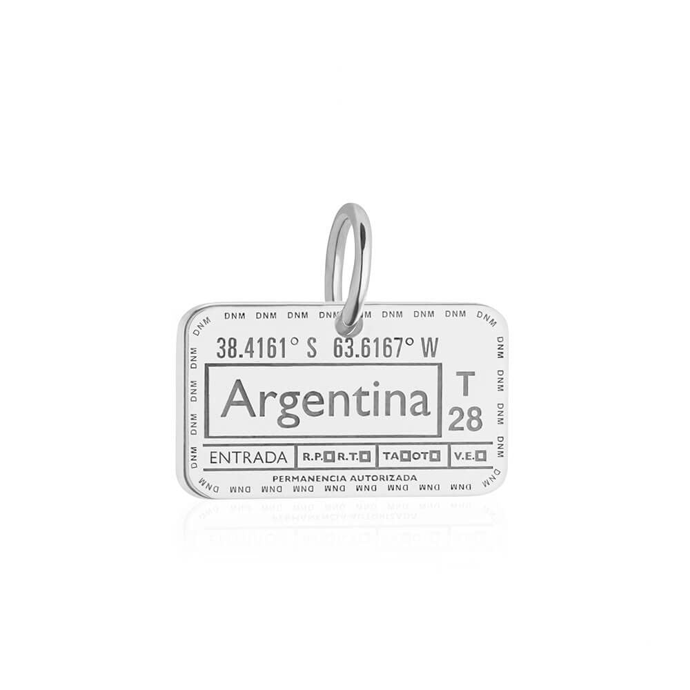 Sterling Silver Travel Charm, Argentina Passport Stamp