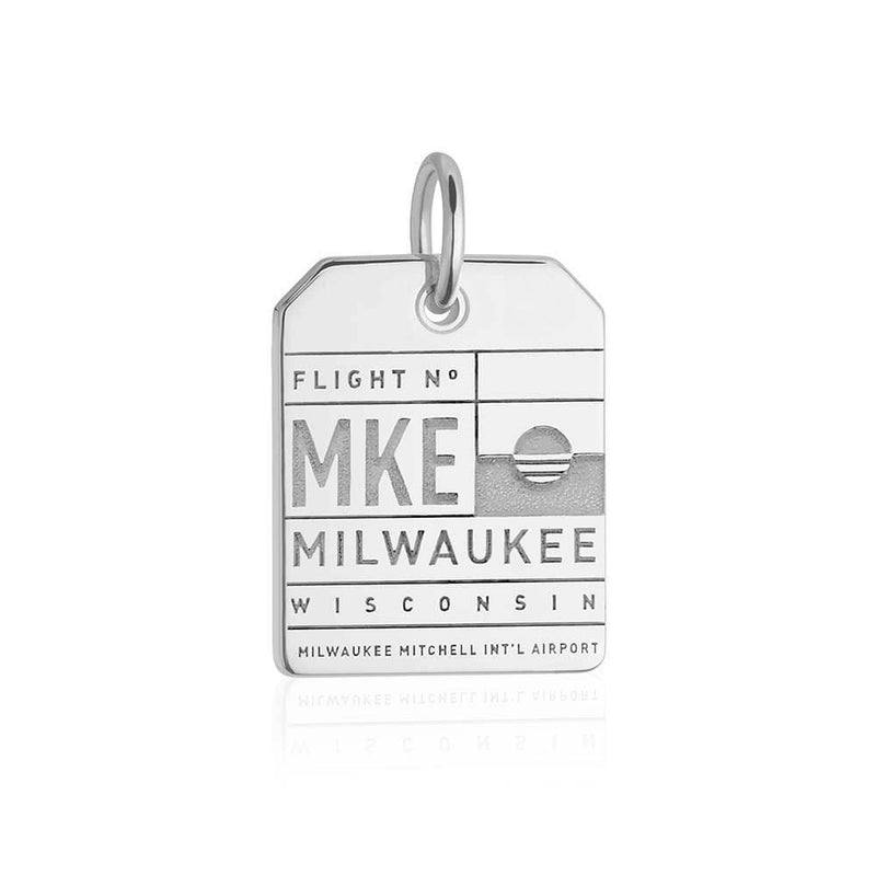 Silver Milwaukee, Wisconsin MKE Luggage Tag Charm