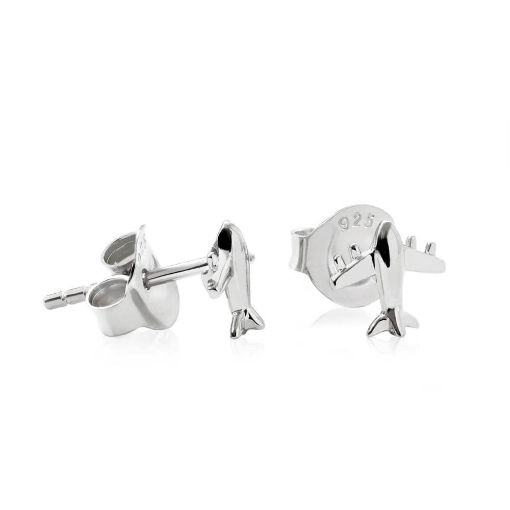 GWP-Silver Airplane Earrings - JET SET CANDY