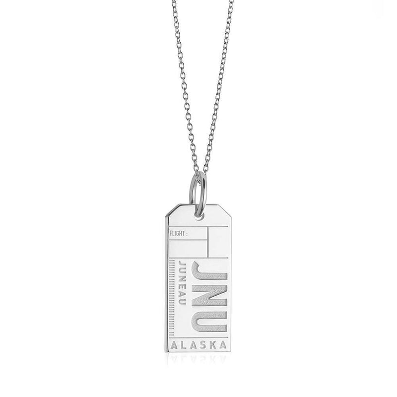 Silver Travel Charm, JNU Juneau, Alaska Luggage Tag - JET SET CANDY