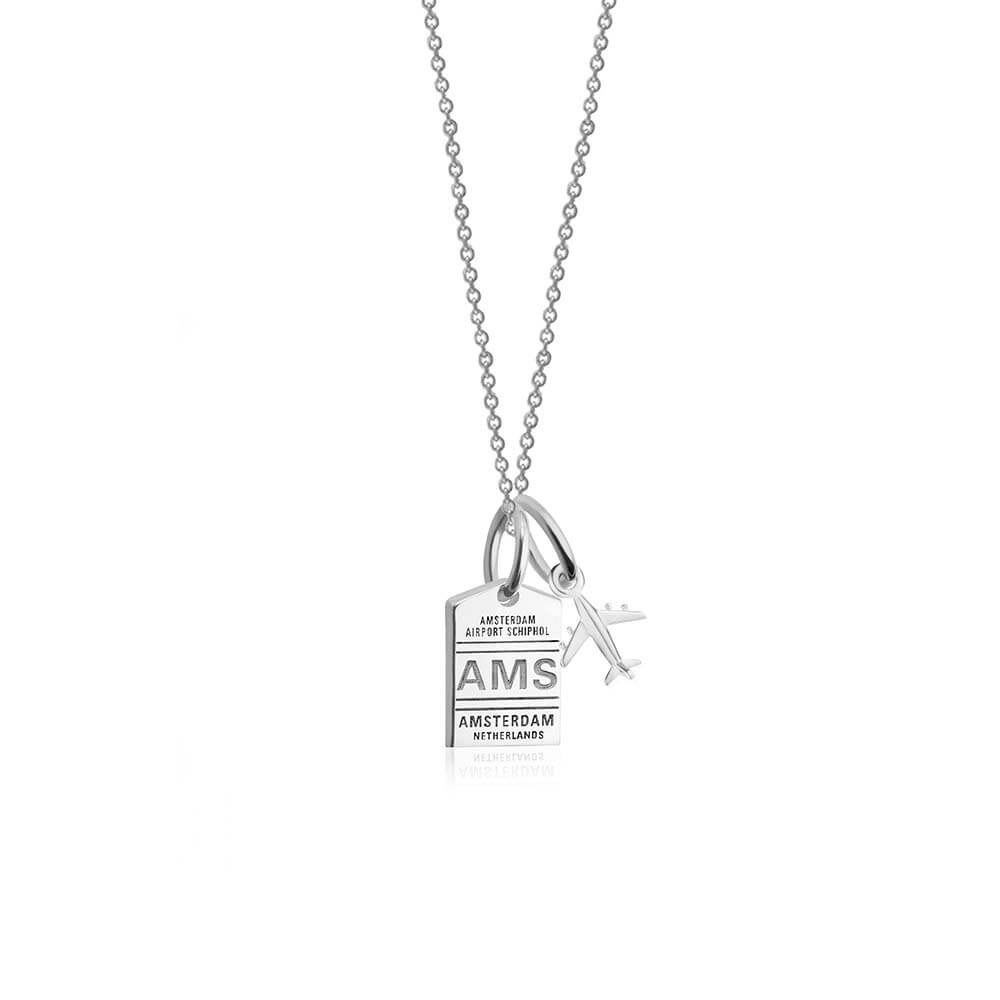 Mini Silver Amsterdam Necklace, AMS Luggage Tag Charm (SHIPS JUNE) - JET SET CANDY