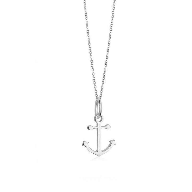 Sterling Silver Mini Anchor Charm Necklace - JET SET CANDY