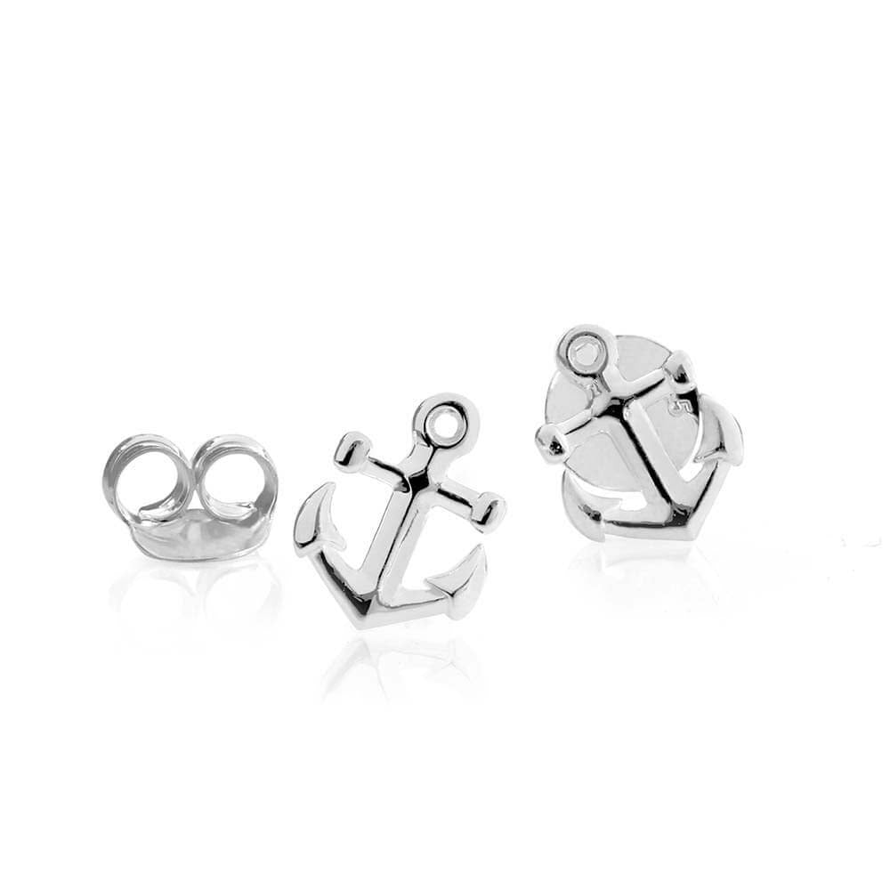 Silver Mini Anchor Earrings-GWP