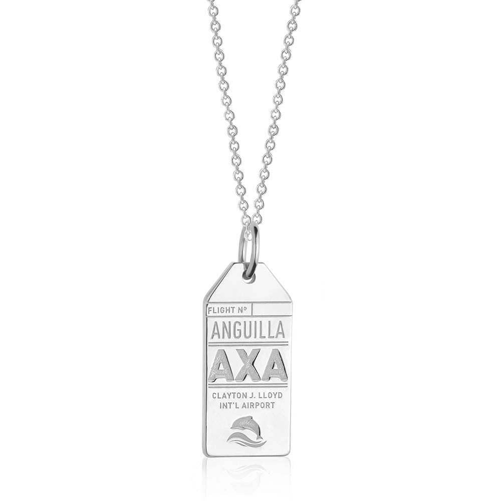 Silver Caribbean Charm, AXA Anguilla Luggage Tag - JET SET CANDY