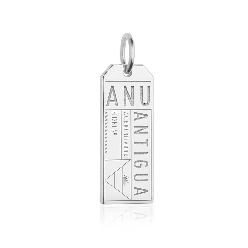 Silver Caribbean Charm, ANU Antigua Luggage Tag - JET SET CANDY