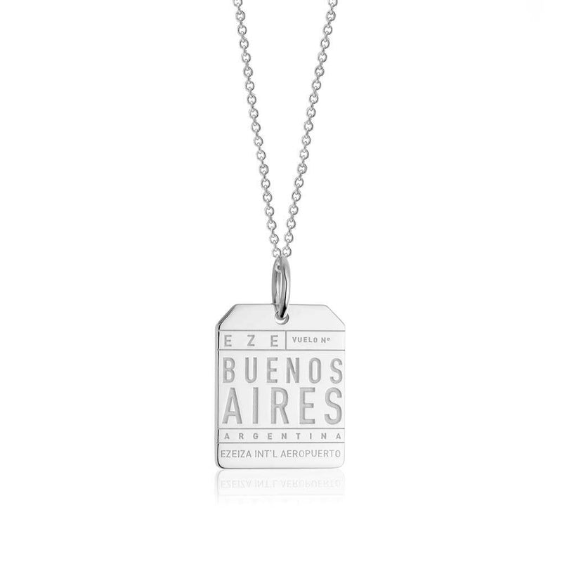Silver Travel Charm, EZE Buenos Aires Luggage Tag - JET SET CANDY
