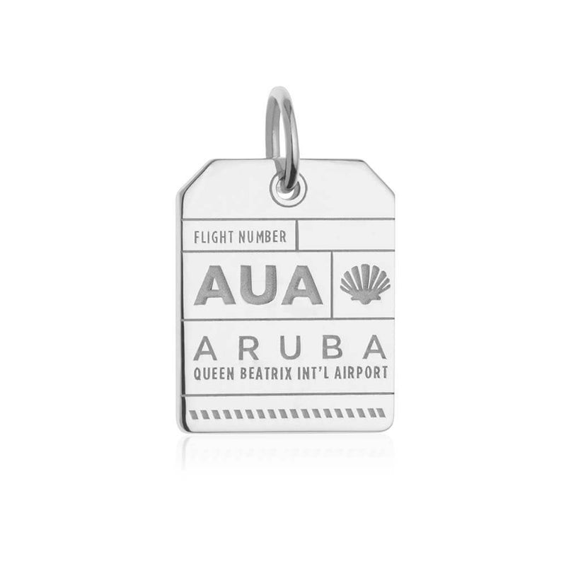 Silver Aruba Charm, AUA Luggage Tag - JET SET CANDY