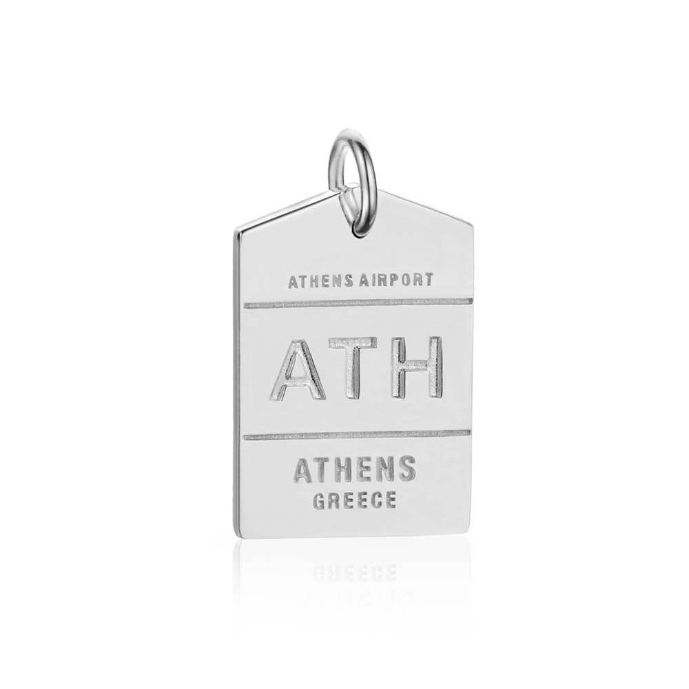 Silver Greece Charm, ATH Athens Luggage Tag - JET SET CANDY