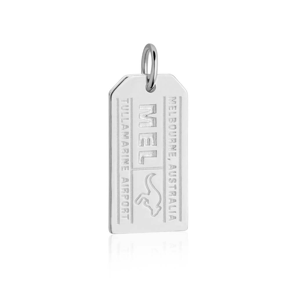 Sterling Silver Australia Charm, Melbourne MEL Luggage Tag - JET SET CANDY