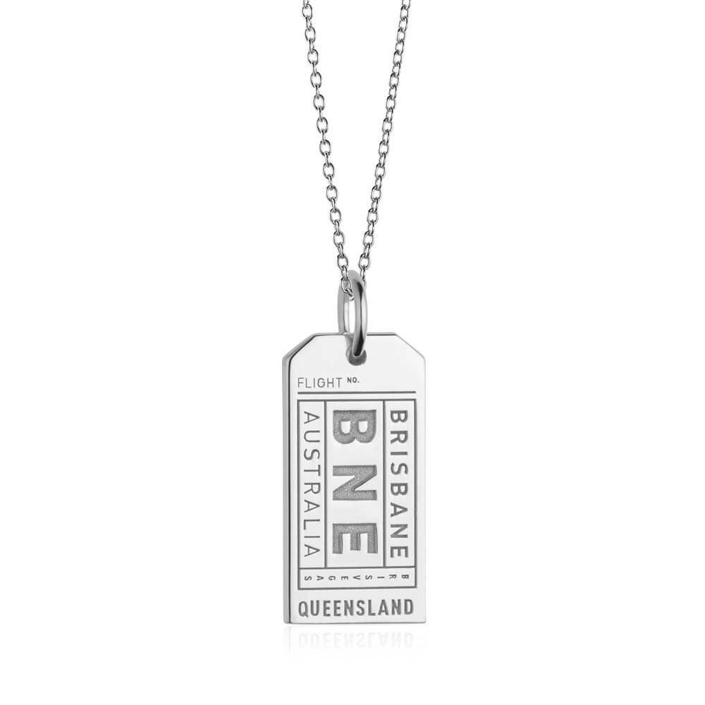 Silver Australia Charm, BNE Brisbane Luggage Tag - JET SET CANDY
