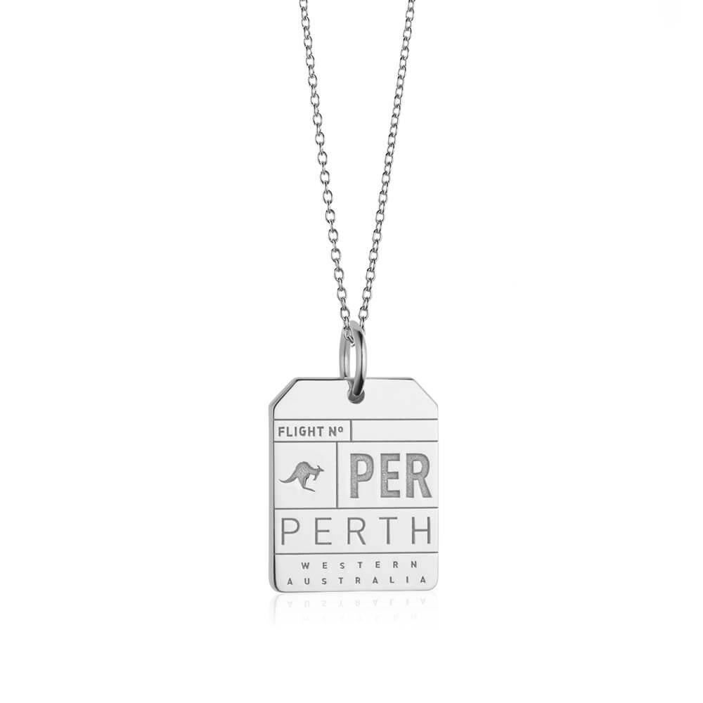 Silver Australia Charm, PER Perth Luggage Tag - JET SET CANDY