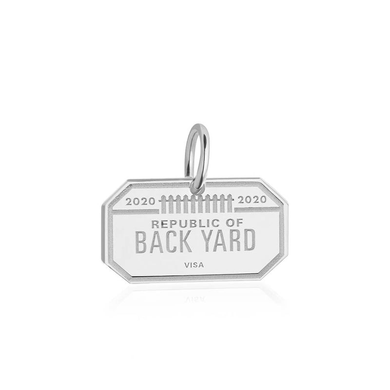 Sterling Silver Republic of Back Yard Passport Stamp Charm