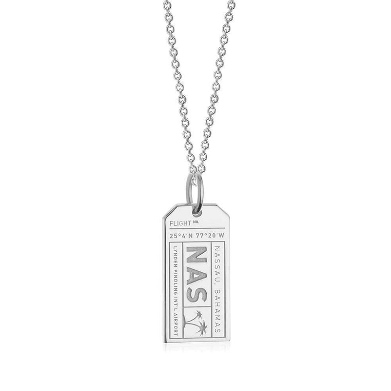 Silver Bahamas Charm, NAS Nassau Luggage Tag (SHIPS JUNE) - JET SET CANDY