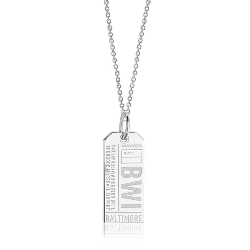Sterling Silver Charm, BWI Baltimore Luggage Tag - JET SET CANDY