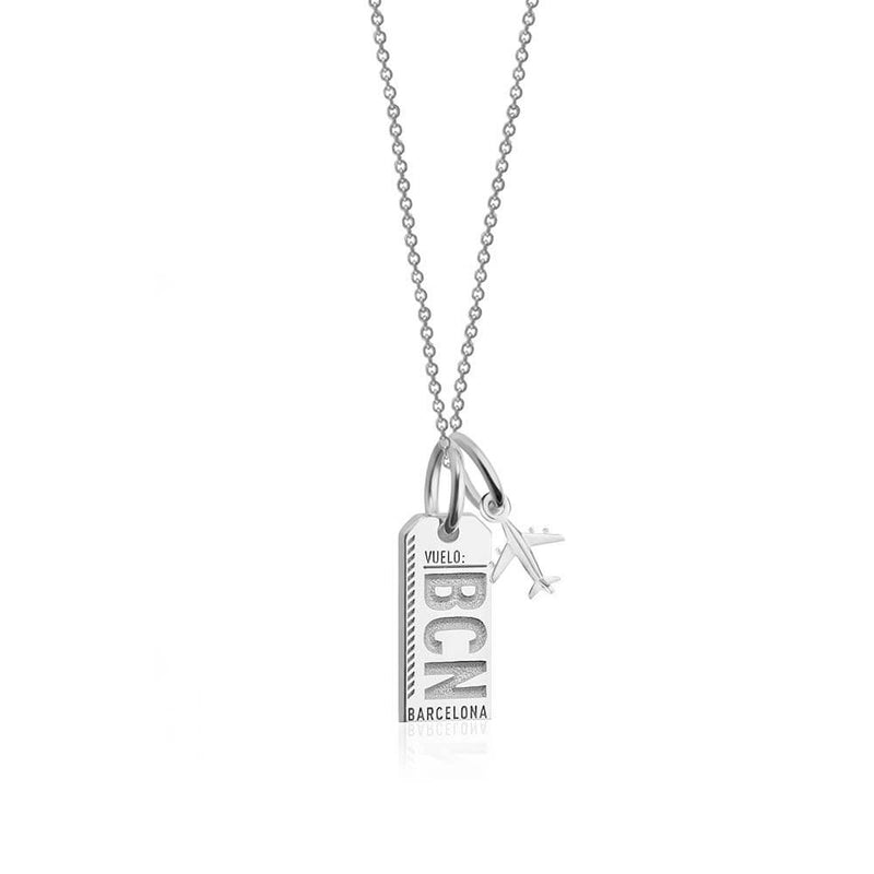 Mini Silver Barcelona, Spain Necklace, BCN Luggage Tag Charm (SHIPS JUNE) - JET SET CANDY