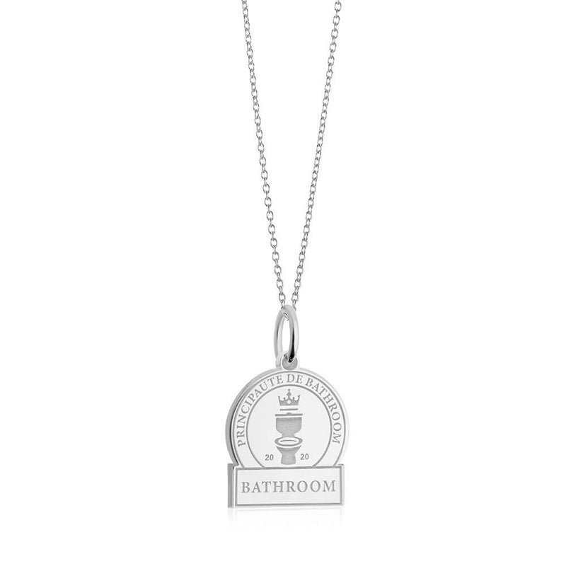 PRE ORDER: Sterling Silver Bathroom Passport Stamp Charm (SHIPS LATE FEB.)