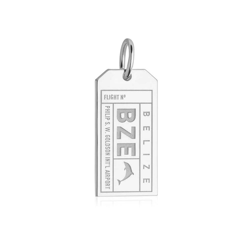 Silver Travel Charm, BZE Belize Luggage Tag - JET SET CANDY