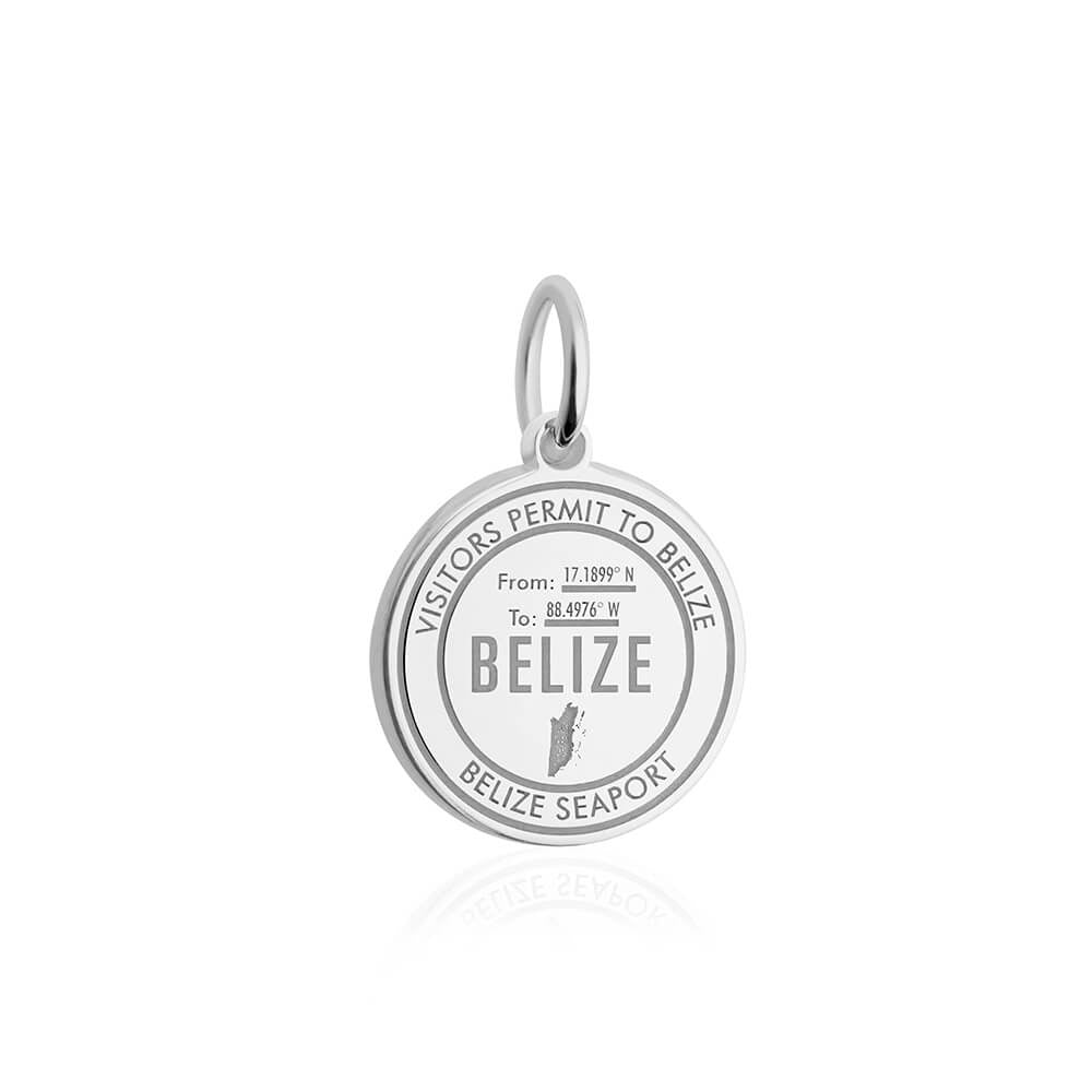 Sterling Silver Belize Passport Stamp Charm