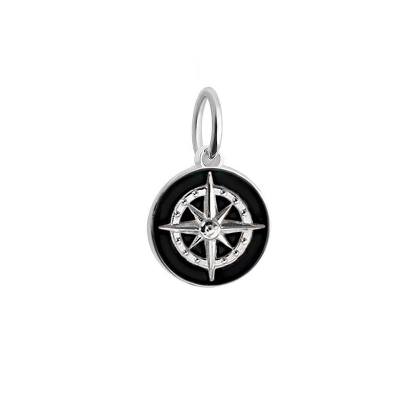 Silver Mini Black Enamel Compass Charm-GWP - JET SET CANDY